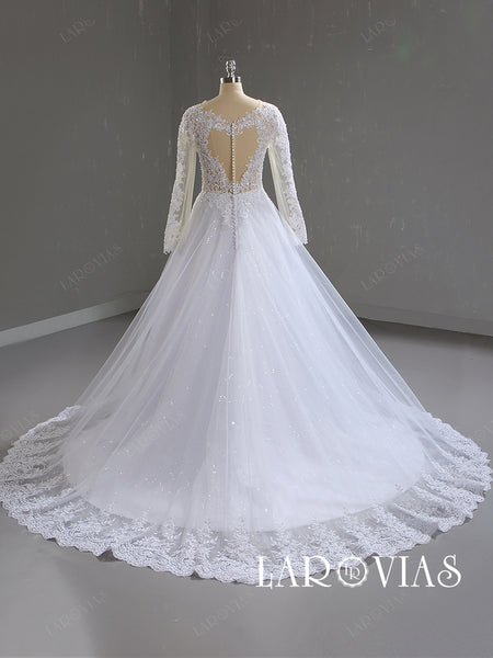 A Line Tulle and Lace Wedding Dress with Long Sleeves LR082 - LaRovias