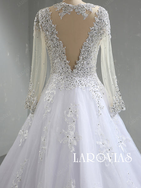Beaded Lace and Tulle Wedding Dress Bridal Gown with Long Sleeves LR088 - LaRovias