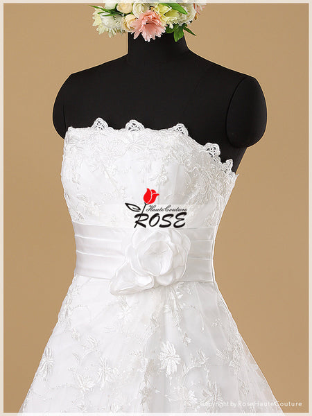 French Lace A Line Wedding Dress with Handmade Flowers Petals Detail Chapel Train and Corset Back Style WD007 - LaRovias