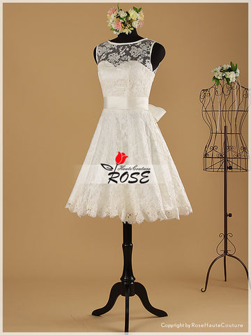 Knee Length Sweetheart Neckline Lace Reception Wedding Dresses Style WD026 - LaRovias
