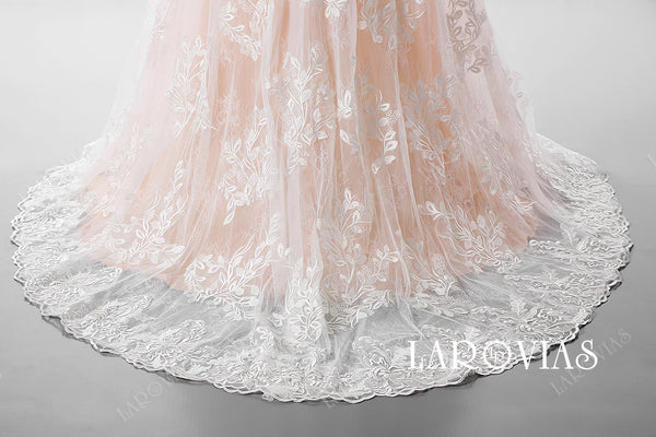 2019 New Arrival A Line Tulle and Lace Wedding Dress Illusion Neckline with Long Sleeves LR002 - LaRovias
