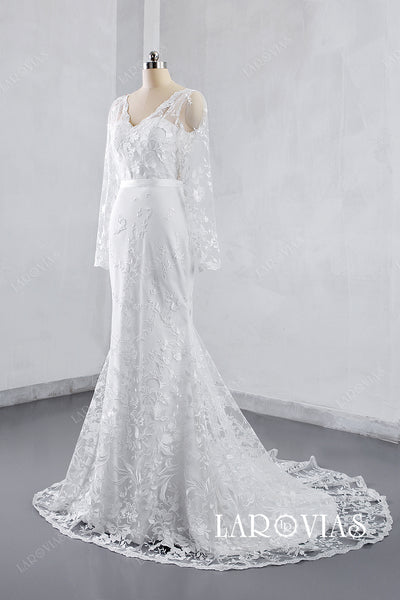 2019 Style Mermaid V Neckline Lace Wedding Dress with Long Sleeves LR004 - LaRovias