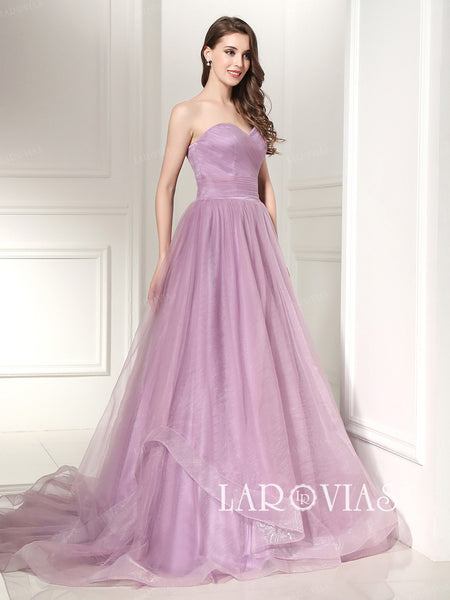 Dusty Pink Prom Dress Wedding Dresses Sweetheart Neckline LA027 - LaRovias