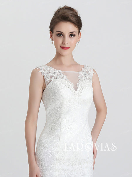 Mermaid Lace Wedding Dress Bridal Gown Corset Back LA028 - LaRovias