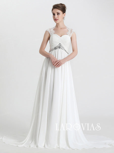 Simple Chiffon Beach Wedding Dress High Waist Dresses For Brides LA030 - LaRovias
