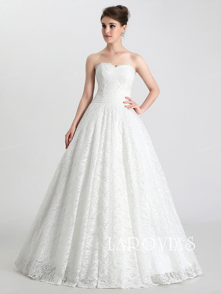 Princess Style Wedding Dress in Lace Ball Gown Skirt LA034 - LaRovias