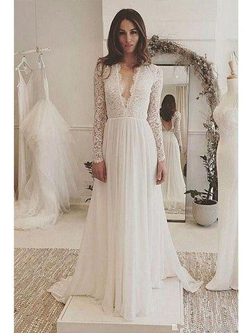 Lace and Tulle Wedding Dress Bridal Gown Open Back V Neckline with Long Sleeves LSY007 - LaRovias