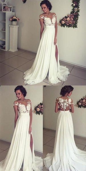 Chiffon and Lace Wedding Dress with Lace Cap Sleeves LSY008 - LaRovias