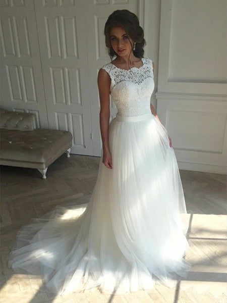 Tulle and Lace Wedding Dress Bridal Gown Lace Up Back LSY013 - LaRovias