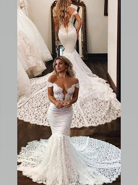 Lace Mermaid Off the Shoulder Wedding Dress Bridal Gown LSY014 - LaRovias