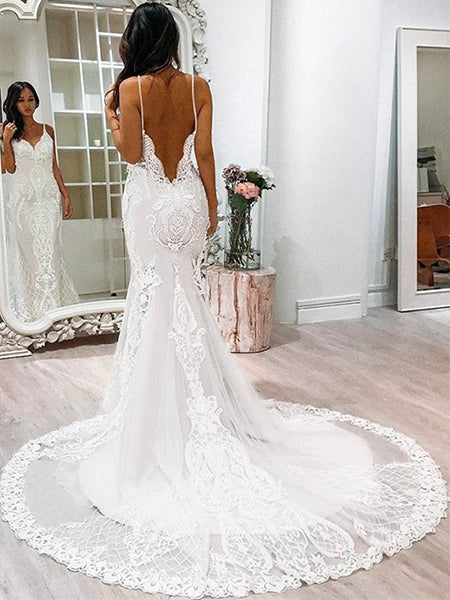Mermaid Tulle and Lace Wedding Dress with Spaghetti Straps LSY018 - LaRovias