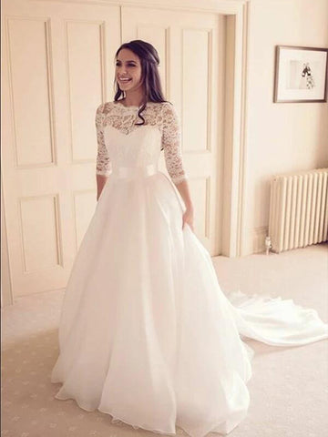 A Line Lace and Organza Wedding Dress Bridal Gown with Sleeves LSY025 - LaRovias