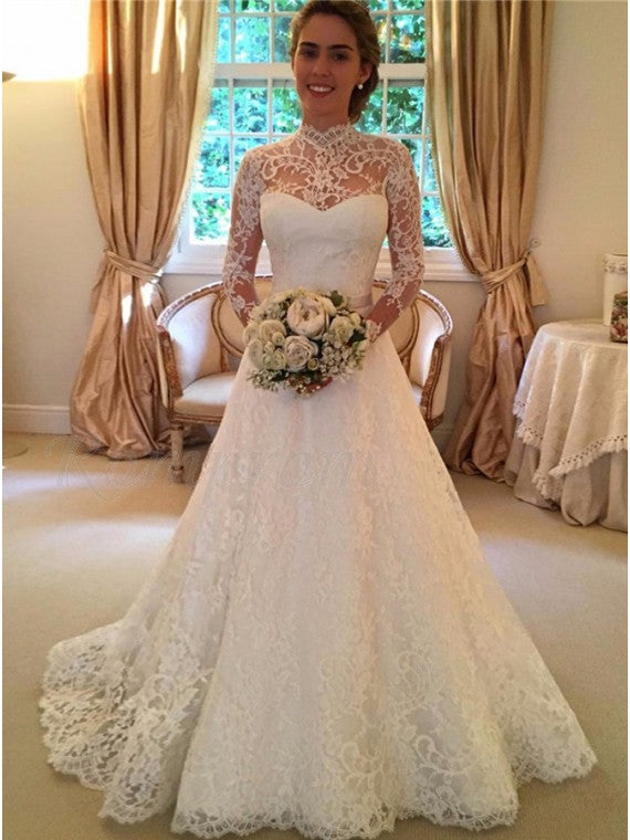 A Line High Neckline Lace Wedding Dress Bridal Gown Keyhole Back with Long Sleeves LSY027 - LaRovias