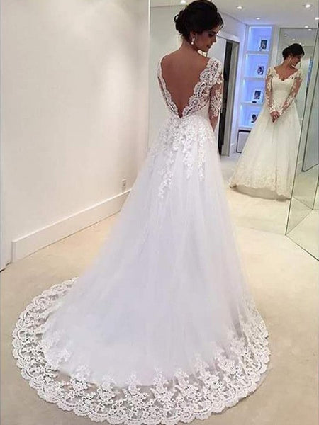 A Line Lace Wedding Dress Bridal Gown V Back with Long Sleeves LSY028 - LaRovias