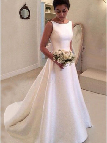 A Line Satin Wedding Dress Bridal Gown V Back LSY030 - LaRovias