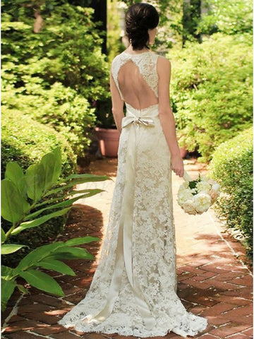 Lace Wedding Dress Bridal Gown Keyhole Back with Cap Sleeves LSY031 - LaRovias