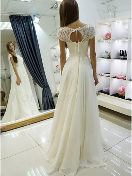 Lace and Chiffon Wedding Dress Bridal Gown Lace Up Back LSY032 - LaRovias