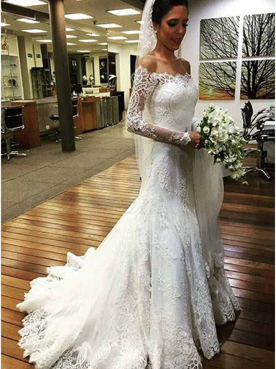 Lace Mermaid Wedding Dress Bridal Gown with Long Sleeves LSY034 - LaRovias