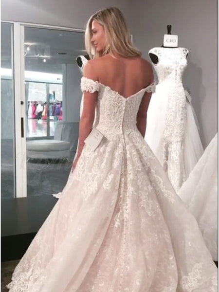 A Line Off the Shoulder Lace Mermaid Wedding Dress LSY035 - LaRovias