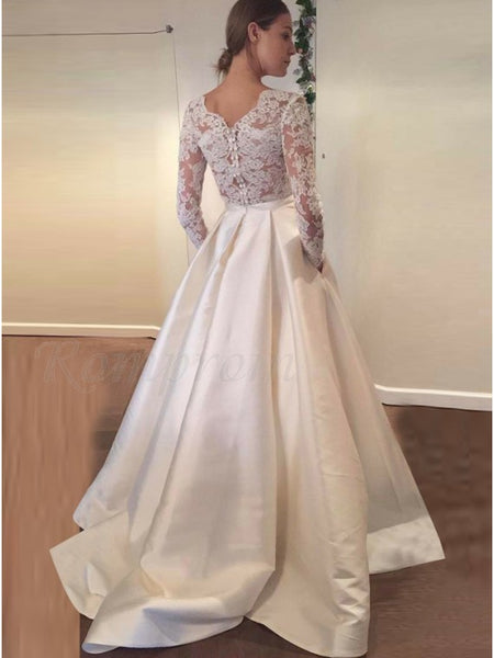 A Line Satin and Lace Wedding Dress with Long Sleeves LSY036 - LaRovias