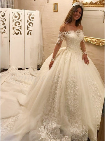 A Line Tulle and Lace Wedding Dress with Long Sleeves LSY037 - LaRovias