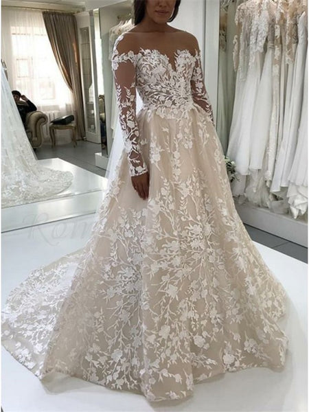 A Line Lace Wedding Dress Bridal Gown With Long Sleeves LSY039 - LaRovias