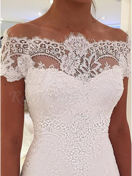 Off the Shoulder Mermaid Lace Wedding Dress Bridal Gown LSY040 - LaRovias