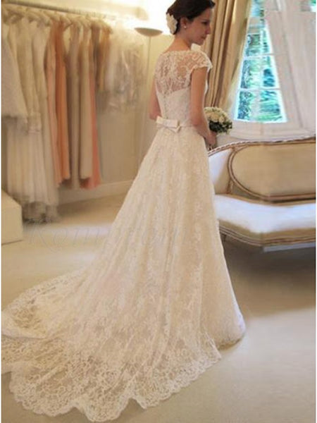 A Line Lace Wedding Dress Bridal Gown Button Back LSY041 - LaRovias