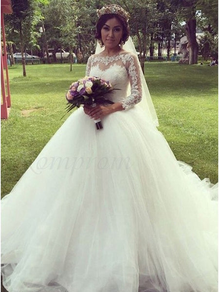 A Line Tulle and Lace Wedding Dress Bridal Gown with Long Sleeves LSY042 - LaRovias