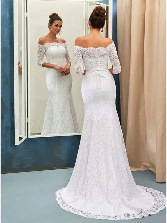 Mermaid Lace Wedding Dress Bridal Gown with Sleeves LSY043 - LaRovias