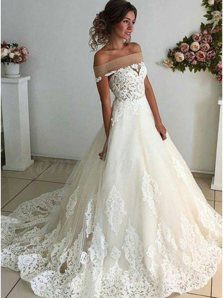 A Line Off the Shoulder Lace Wedding Dress Bridal Gown LSY046 - LaRovias