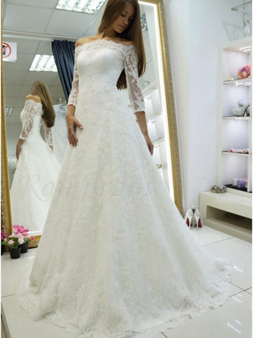 A Line Lace Wedding Dress Bridal Gown with Long Sleeves LSY047 - LaRovias