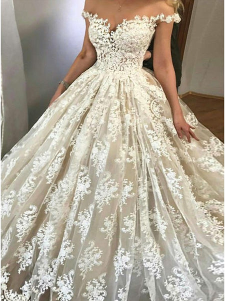 A Line Off the Shoulder Lace Wedding Dress Bridal Gown LSY051 - LaRovias
