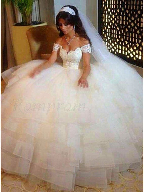 A Line Off the Shoulder Lace and Tulle Wedding Dress Bridal Gown LSY052 - LaRovias