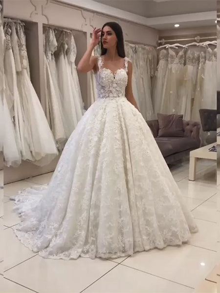 A Line Lace Wedding Dress Bridal Gown LSY053 - LaRovias