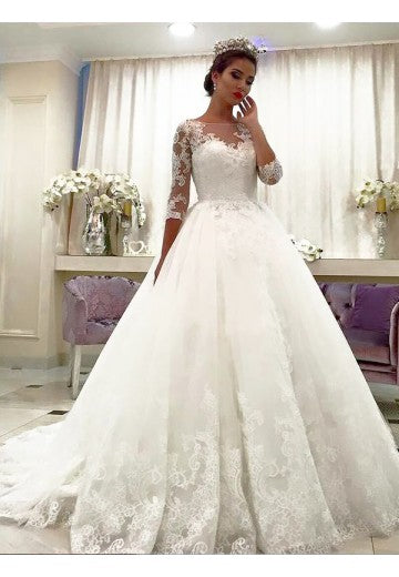 A Line Lace Wedding Dress Bridal Gown with Long Sleeves LSY055 - LaRovias
