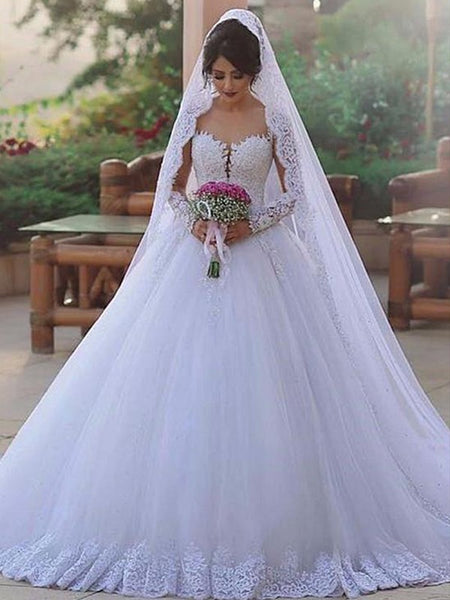 A Line Tulle and Lace Wedding Dress with Long Sleeves LSY056 - LaRovias