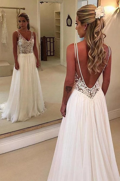 A Line Chiffon and Lace Wedding Dress LSY063 - LaRovias