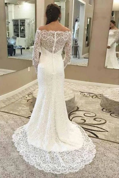 Mermaid Lace Wedding Dress with Long Sleeves LSY066 - LaRovias