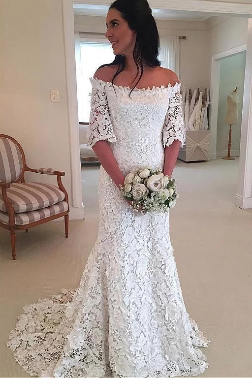 Mermaid Lace Wedding Dress Bridal Gown with Sleeves LSY068 - LaRovias