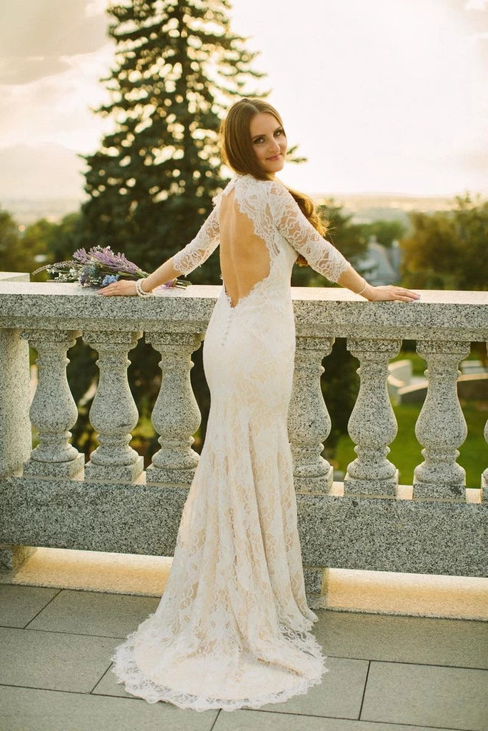 Mermaid Lace Wedding Dress with Long Sleeves LSY069 - LaRovias
