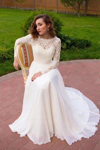Lace and Chiffon Wedding Dress Bridal Gown with Long Sleeves LSY071 - LaRovias
