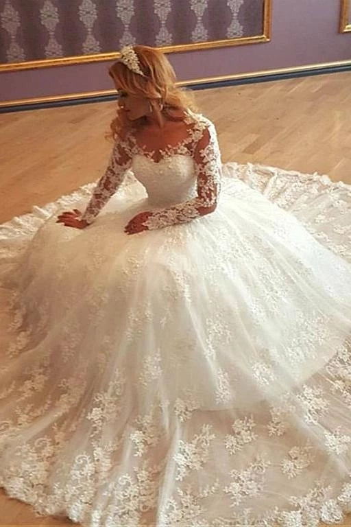 A Line Lace Wedding Dress Bridal Gown with Long Sleeves LSY072 - LaRovias