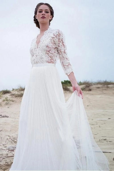 Lace and Tulle Wedding Dress Bridal Gown with Long Sleeves LSY073 - LaRovias