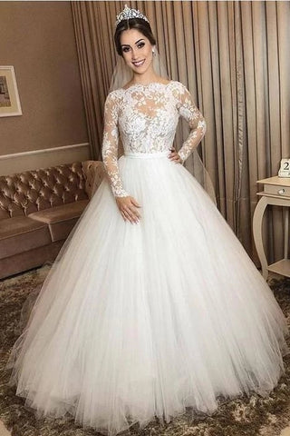 A Line Lace and Tulle Wedding Dress Bridal Gown with Long Sleeves LSY075 - LaRovias