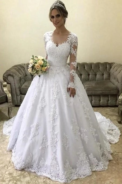 A Line Lace and Tulle Wedding Dress Bridal Gown with Long Sleeves LSY079 - LaRovias