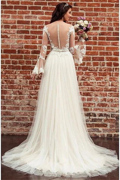 Lace and Tulle Wedding Dress Bridal Gown with Long Sleeves LSY080 - LaRovias