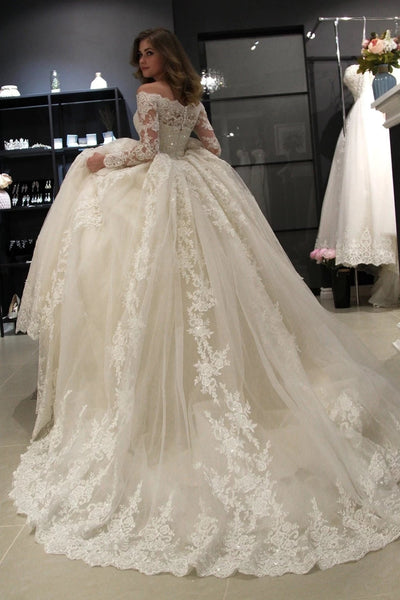 A Line Lace and Tulle Wedding Dress Bridal Gown with Long Sleeves LSY081 - LaRovias