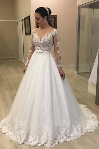 A Line Lace Wedding Dress Bridal Gown with Long Sleeves LSY082 - LaRovias