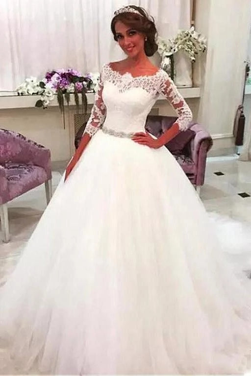 A Line Lace and Tulle Wedding Dress Beaded Belt with Long Sleeves LSY084 - LaRovias